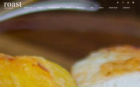 Screenshot of Home Page roast-restaurant.com - Roast Restaurant | Deliciously British - captured Jan. 13, 2016