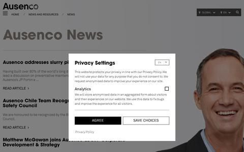 Screenshot of Press Page ausenco.com - Ausenco - captured Sept. 24, 2018