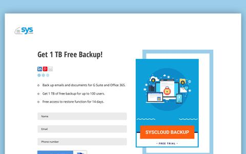 Screenshot of Trial Page syscloud.com - SysCloud backup free trial - captured Nov. 4, 2018