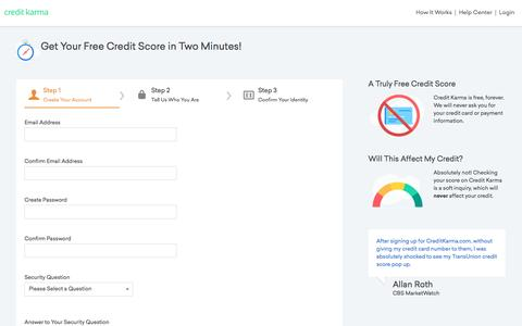 Screenshot of Signup Page creditkarma.com - Sign Up - Free Credit Score &  Free Credit Reports With Monitoring   Credit Karma   Credit Karma - captured Jan. 30, 2017