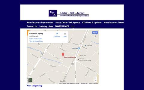 Screenshot of Maps & Directions Page carteryork.com - Carter York Agency - Map - captured Oct. 2, 2014