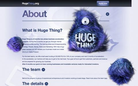 Screenshot of About Page hugething.org - About | Huge Thing - captured Sept. 30, 2014