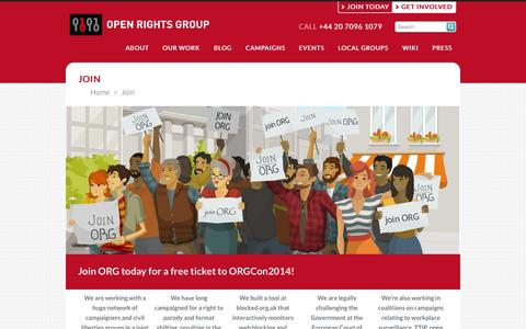 Screenshot of Signup Page openrightsgroup.org - Open Rights Group - Join - captured Sept. 19, 2014