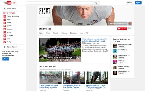 Screenshot of YouTube Page youtube.com - startfitness  - YouTube - captured Oct. 23, 2014