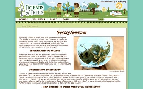 Screenshot of Privacy Page friendsoftrees.org - Privacy Statement - captured Jan. 8, 2016