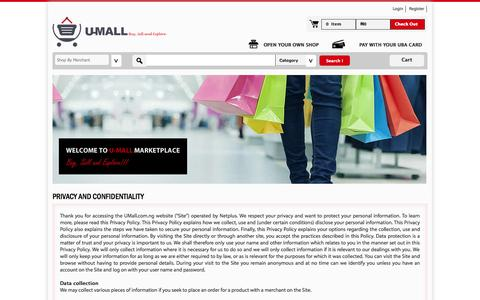 Screenshot of Privacy Page umall.com.ng - e-commerce solution for SMEs in Nigeria - captured Sept. 19, 2014