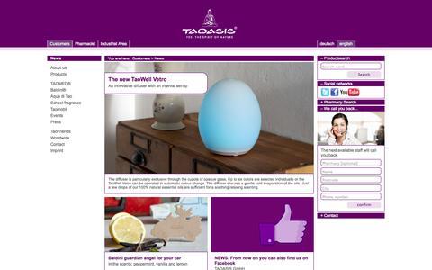 Screenshot of Press Page taoasis.com - TAOASIS > Customers > News - captured Sept. 23, 2014