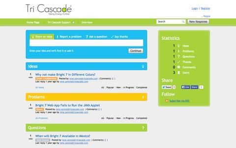 Screenshot of Support Page tricascade.com - Tri Cascade Support - captured Oct. 7, 2014