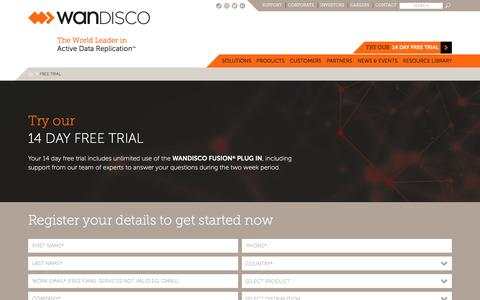 Screenshot of Trial Page wandisco.com - Free Trial - captured May 9, 2017