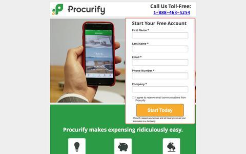 Screenshot of Landing Page procurify.com - Better Business Expensing With Procurify - captured Aug. 22, 2016