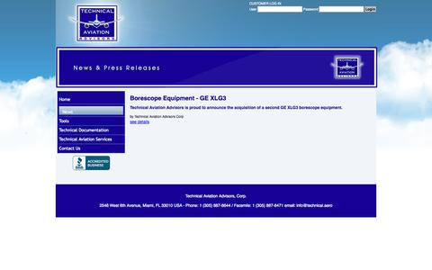 Screenshot of Press Page technical.aero - Technical Aviation Advisors, Corp. - News & Press Releases - captured Oct. 7, 2014