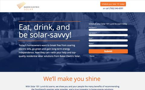 Screenshot of Landing Page bakerelectricsolar.com captured Aug. 19, 2016