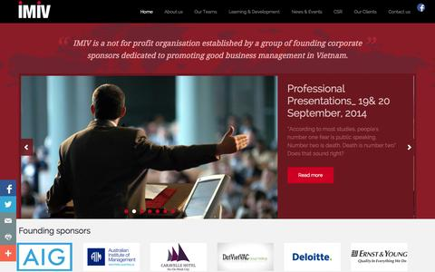 Screenshot of Home Page imiv.org - IMIV - IMIV - International Management Initiative for Vietnam - captured Oct. 6, 2014