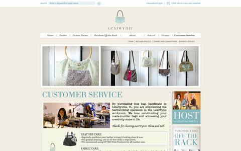 Screenshot of Support Page lexiwynn.com - LexiWynn :: Design In Hand :: Customer Service - captured Oct. 2, 2014