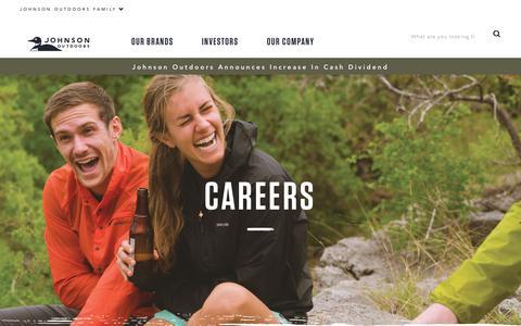 Screenshot of Jobs Page johnsonoutdoors.com - Careers | Johnson Outdoors - captured Nov. 6, 2018