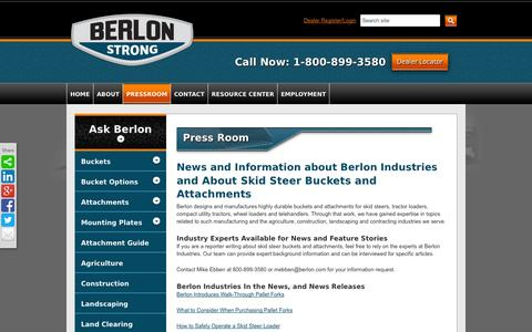 Screenshot of Press Page berlon.com - News About Berlon Industries, Manufacturer of Skid Steer Buckets and Attachments - captured Oct. 5, 2014