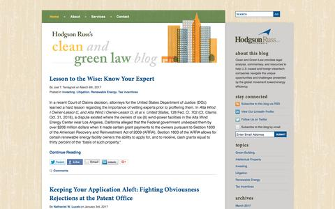 Screenshot of Home Page cleanandgreenlaw.com - Hodgson Russ's Clean and Green Law | Cleantech & Green Energy Lawyers | Hodgson Russ Law Firm - captured Feb. 9, 2018
