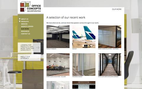 Screenshot of Case Studies Page officeconcepts.ca - Our Work | Office Concepts Incorporated - captured Oct. 19, 2017