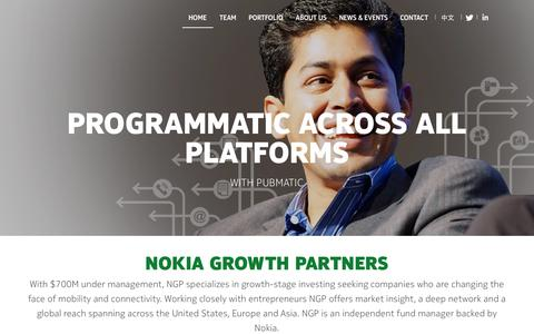 Screenshot of Home Page nokiagrowthpartners.com - We invest in growth companies | Nokia Growth Partners - captured Aug. 10, 2015