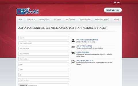 Screenshot of Contact Page appsame.com - Job Opportunities. We are looking for staff across 10 states - captured Sept. 13, 2014