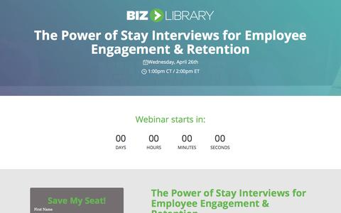 Screenshot of Landing Page bizlibrary.com - The Power of Stay Interviews for Employee Engagement and Retentio [Webinar] - captured June 30, 2017