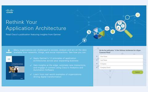 Screenshot of Landing Page cisco.com - Application Architecture - captured April 20, 2016