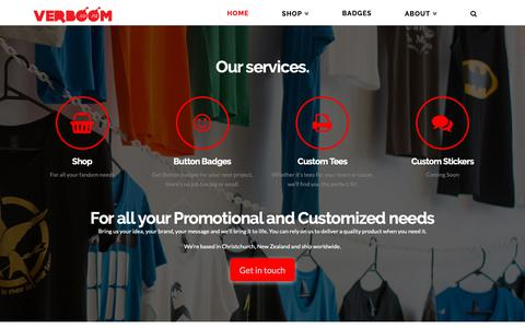 Screenshot of Home Page verboom.co.nz - verboom.co.nz | Your home for custom printing - captured Oct. 20, 2018