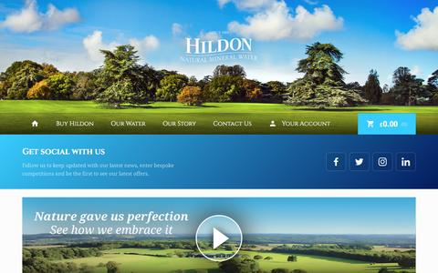 Screenshot of Home Page hildon.com - Home | Hildon – Natural Mineral Water - captured Nov. 9, 2016