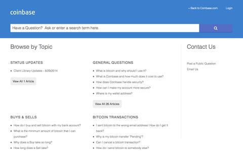 Screenshot of Support Page coinbase.com - Coinbase |      Portal - captured Sept. 13, 2014