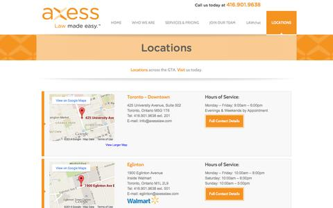 Screenshot of Contact Page Locations Page axesslaw.com - Contact Us Today - Axess Law | Call 416.901.9638 - captured Oct. 23, 2014