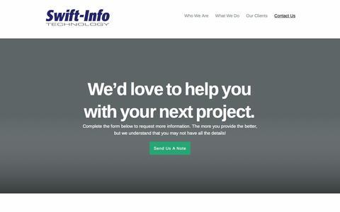 Screenshot of Contact Page swift-info.com - Contact Us   Swift-Info Technology - captured Feb. 16, 2016