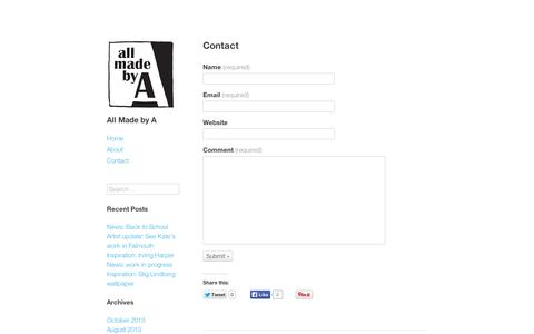 Screenshot of Contact Page wordpress.com - Contact – All Made by A - captured Sept. 12, 2014