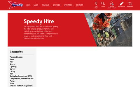 Screenshot of Products Page speedyservices.com - Tools and Equipment Hire | Speedy Services - captured April 7, 2019
