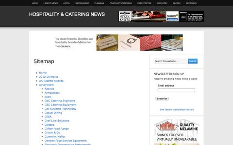 Screenshot of Site Map Page hospitalityandcateringnews.com - Sitemap - Hospitality & Catering News - captured Sept. 24, 2014