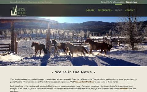 Screenshot of Press Page vistaverde.com - Colorado Luxury Ranch Resort | Vista Verde Ranch | Media Kit | Colorado Luxury Ranch Resort | Vista Verde Ranch - captured Jan. 23, 2016