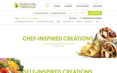 Screenshot of Menu Page californiatortilla.com - Menu | Mexican Restaurant, Burritos, Tacos | California Tortilla - captured Sept. 24, 2014