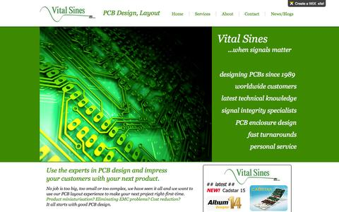 Screenshot of Home Page vitalsines.co.uk - Vital Sines PCB Design PCB Layout Altium Cadstar - captured Oct. 7, 2014