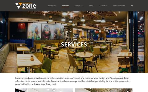 Screenshot of Services Page constructionzone.com.au - Services - captured Feb. 1, 2016