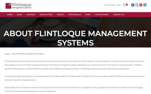 Screenshot of About Page flintloque.co.uk - About Flintloque Management Systems - Flintloque Management Systems - captured Sept. 24, 2018