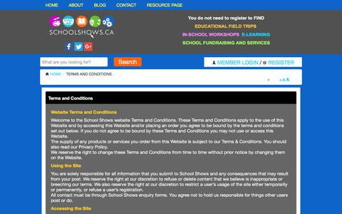 Screenshot of Terms Page schoolshows.ca - Terms and Conditions | School Resource Directory - captured July 17, 2017