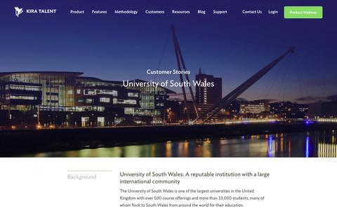 Screenshot of Case Studies Page kiratalent.com - University of South Wales - Customer Story | Kira Talent - Video Admissions Platform - captured Dec. 25, 2016