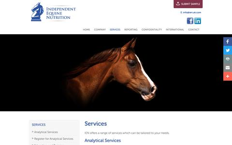 Screenshot of Services Page ien.uk.com - Services - captured Oct. 11, 2018