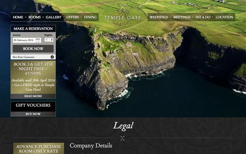 Screenshot of Terms Page templegatehotel.com - Temple Gate Hotel Ennis | Legal | Hotel in Clare Ireland - captured Feb. 25, 2016