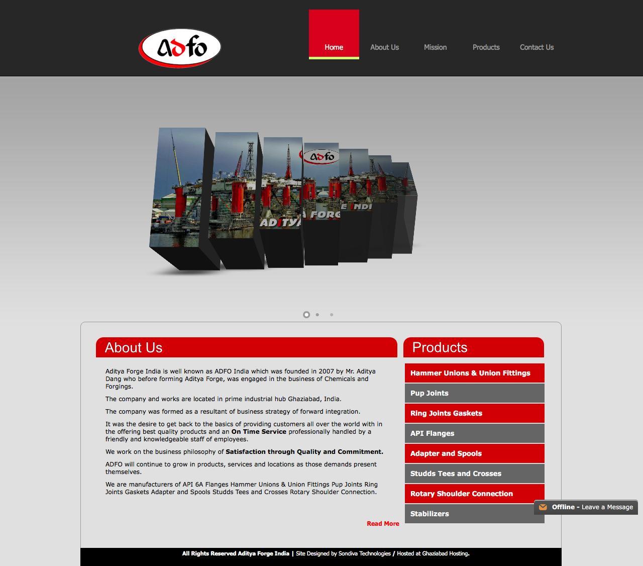 Web Design Example | A page on adfoindia com | Crayon