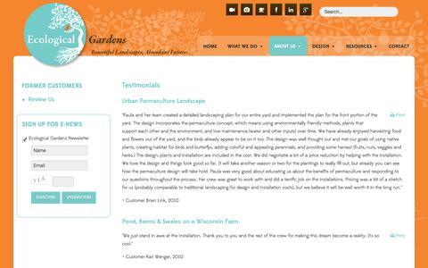 Screenshot of Testimonials Page ecologicalgardens.com - Testimonials - captured Sept. 30, 2014