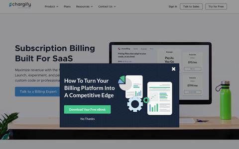 Screenshot of Home Page chargify.com - Recurring Billing | Subscription Billing Software - Chargify - captured Jan. 9, 2019