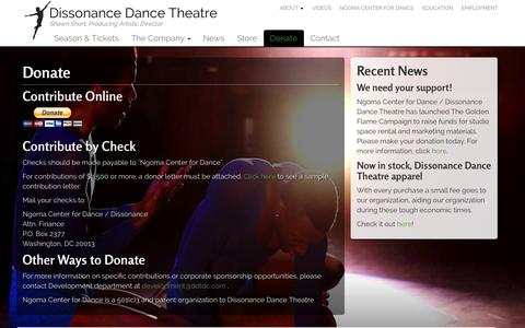 Screenshot of Support Page ddtdc.org - Donate | Dissonance Dance Theater - captured Oct. 7, 2014