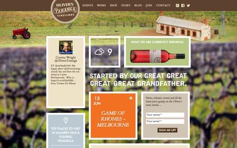Screenshot of Home Page oliverstaranga.com - Oliver's Taranga Vineyards|Cellar Door & Winery|McLaren Vale - captured June 19, 2015