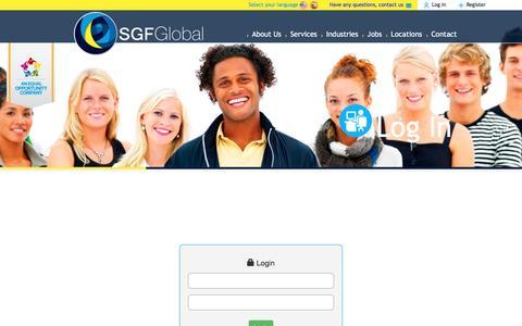 Screenshot of Login Page sgfglobal.com - SGF Global - captured May 26, 2017
