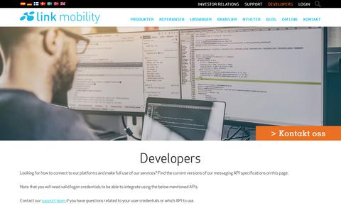 Screenshot of Developers Page linkmobility.com - Developers - LINK Mobility - captured Feb. 18, 2018